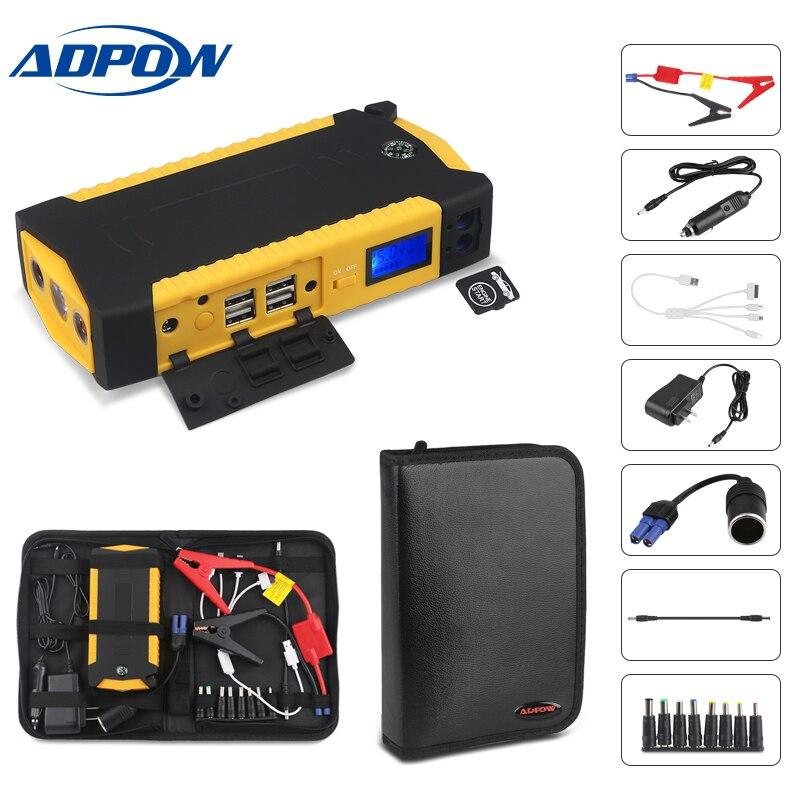 ADPOW chargeur de batterie de démarreur de saut de voiture multifonction 12 V 68000 mAH 600A batterie de voiture d'urgence Booster batterie externe dispositif de démarrage