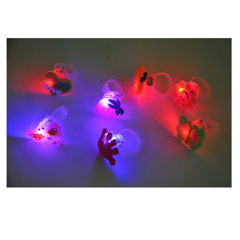 100units/lot Cute cartoon LED mixed color Flashing Light Rings Blinking toy Party luminous Glow Finger Ring Kid gift