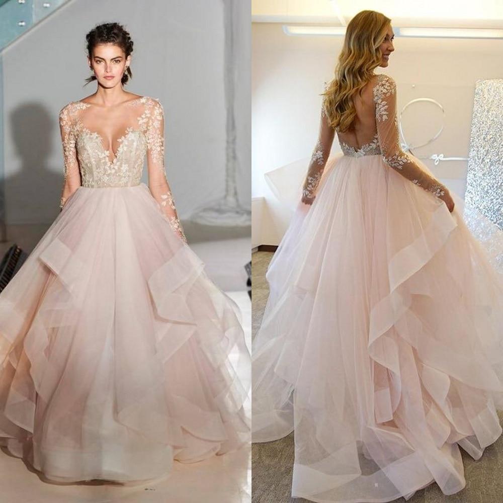 Popular wedding dresses blush buy cheap wedding dresses for Long sleeve blush wedding dress