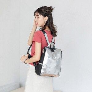 Image 2 - حقيبة جلدية فضية للنساء حقيبة ظهر مرقعة حقيبة ظهر أنيقة للسيدات ماركة كورية مضادة للسرقة حقيبة ظهر mochila XA432H