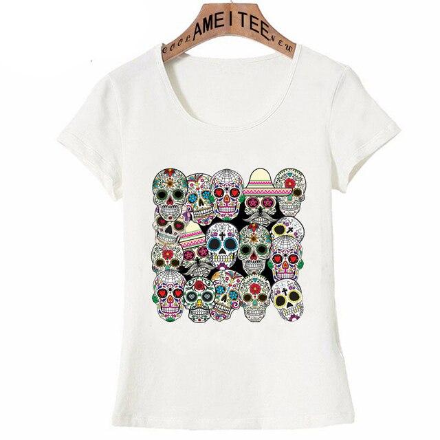 d4e388dddb2cc9 Summer Fashion Women T Shirt Day of The Dead Sugar Skulls Print T-Shirt  Mini Casual Tops Girl Punk Tees Hipster Short Sleeve