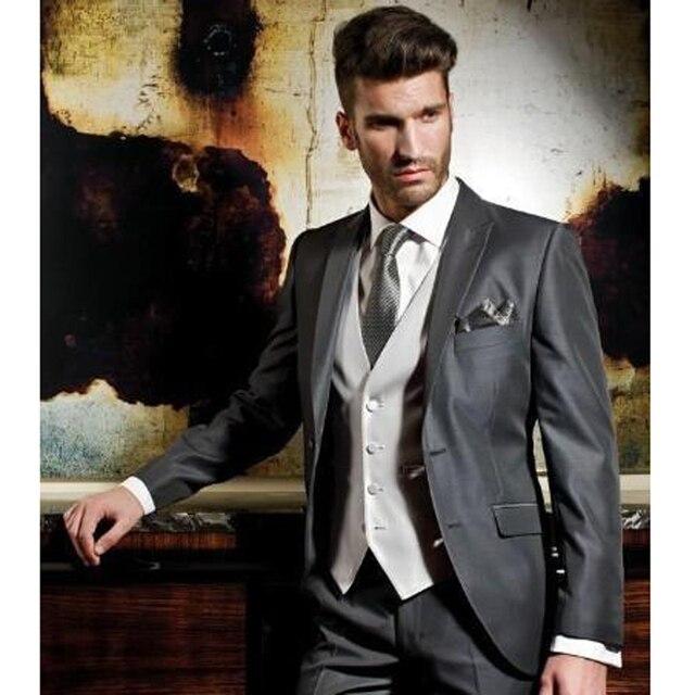 2016 серый пользовательские жених смокинги пик жениха мужчины свадебные костюмы куртка брюки жилет