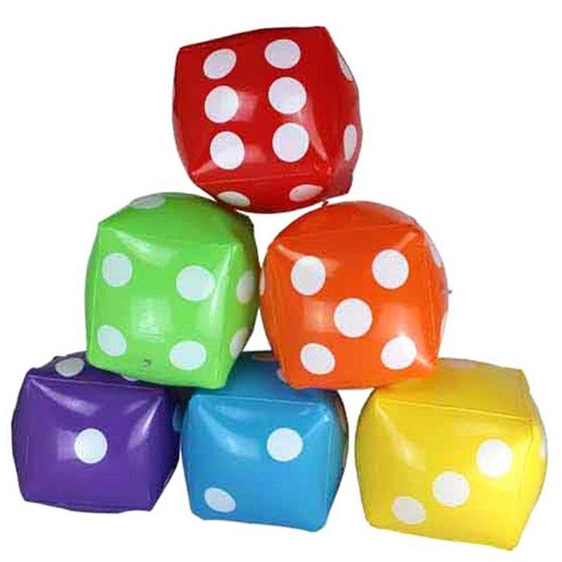 5ピースインフレータブルマルチカラーダイスインフレータブルpvcふるいホットおもちゃステージ小道具子供誕生日パーティーの好意子供屋外ゲームプレイ玩具
