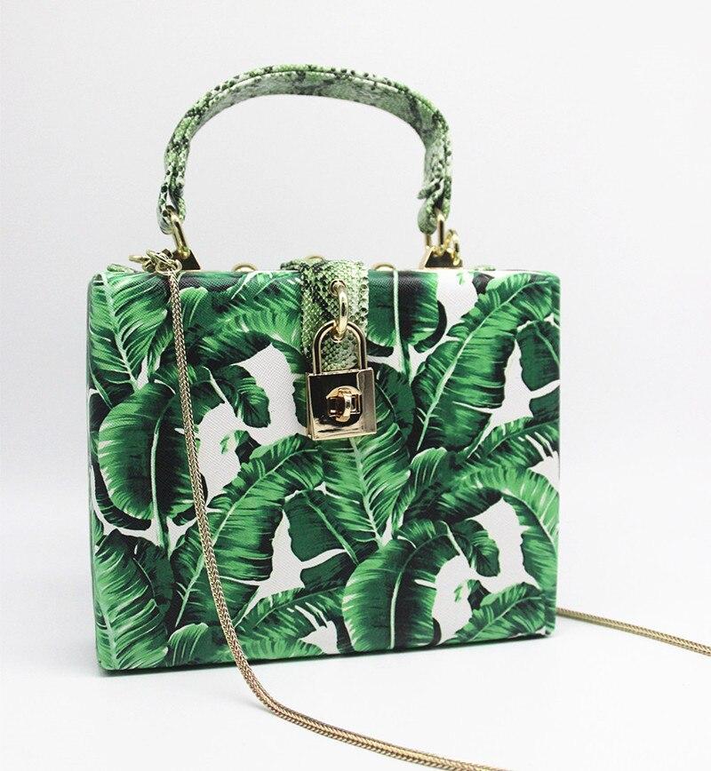 18 Women messenger bags Brand New Elegant Spring Summer Shoulder diagonal Box Bag Woman leave Print art Clutch banquet Handbag 9