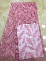Latest African Lace Fabric 2019 Feather Lace Fabric High Quality Nigerian Sequins BeadsEmbroidery French Lace Fabric Wedding X12