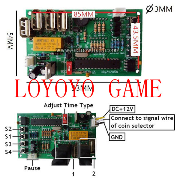 coin operated USB time board with separate display time control Power Supply for USB devices xbox joystick controller
