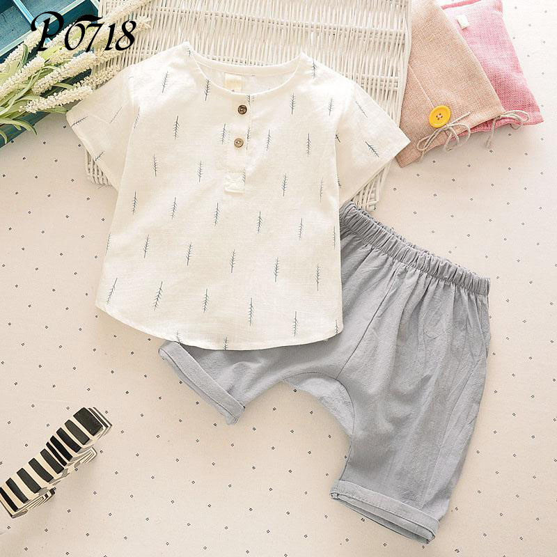 2017 New Cool Summer Children Boys Clothes Set Kids Short T-shirt Pants Linen Breathable Comfortable Branches Boys Clothing Suit