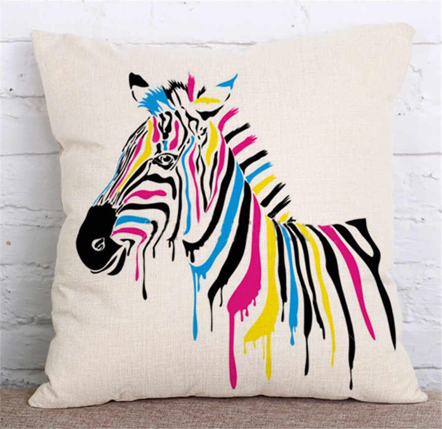 ZXZXOON dekoratif kırlent kılıfı hayvanlar zebra pamuk keten yastık örtüsü kanepe ev dekor için çapa de almofadas