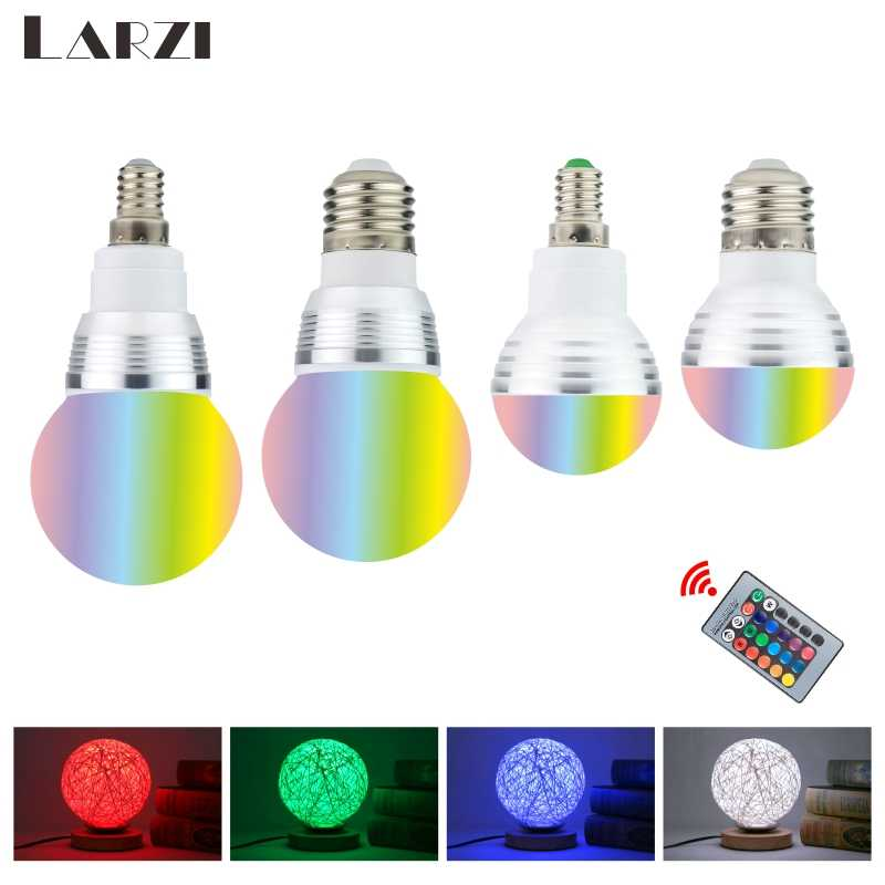 110V 220V 85-265V E27 E14  LED RGB lamp Bulb 3W 5W LED RGB Spot light Novelty Holiday RGB lights+IR Remote Control 16 colors