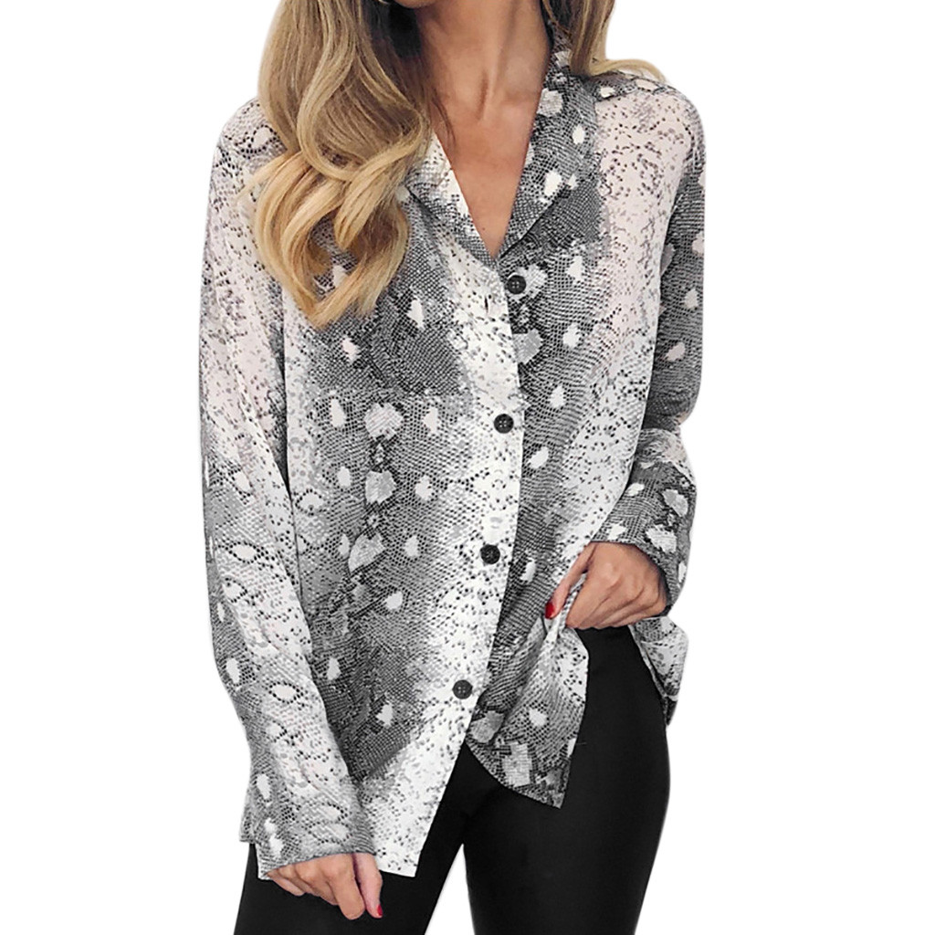 Fashion Women Long Sleeve Serpentine Snake Printing Button Turn-down Collar Blouse Shirt Fashion Long Sleeve  Office Shirt