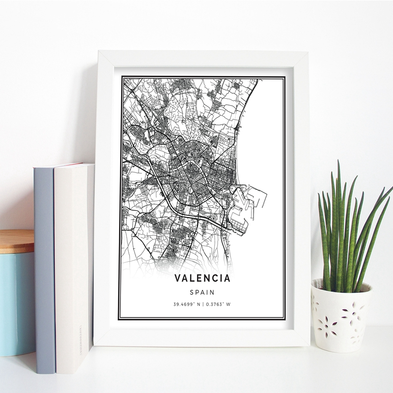 Valencia Map Poster Print Wall Art Picture Spain Gift City Street Travel Map Art Painting Nordic Modern Picture Home Wall Decor