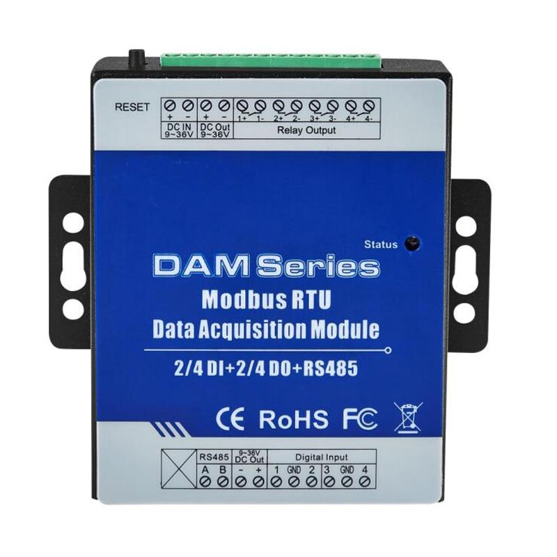 DAM112 Modbus RTU IO модуль 4 цифровых входа управление 4 цифровых релейных выходов ретранслятор расширяемые модули для S27X MXX Seris