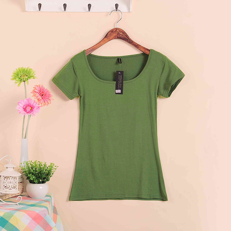 Базовые Стрейчевые топы размера плюс,, Летний стиль, короткий рукав, футболки для женщин, u-образный вырез, хлопок, женские футболки, повседневные футболки - Цвет: W00630 navy green
