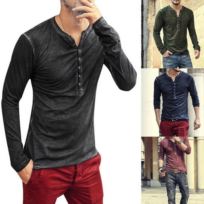 SHUJIN Modish mężczyźni Henley Tshirt 2019 z długim rękawem luźna koszulka stylowa Slim Fit z guzikami wzorem mężczyźni podstawowe topy Tee Hombre 3XL