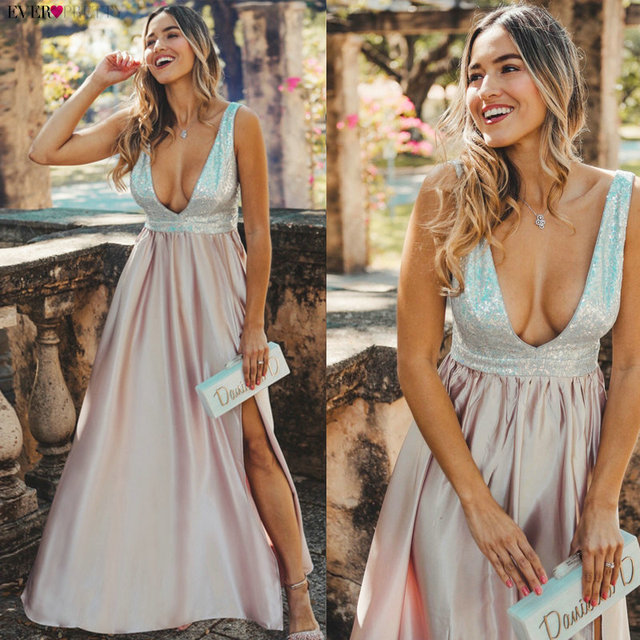 Blush Pink Prom Dresses Long Ever Pretty EP07890 Sexy Deep V-neck Backless Sparkle Sequin Formal Party Gowns Vestidos Prom 2020 1