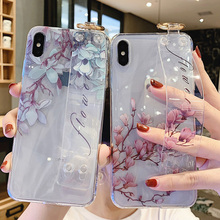 flower tpu case for iphone XS MAX XR X 7 8 6 6S plus case cover fashion floral wristband holder transparent soft phone bag capa обогреватель масляный timberk tor 21 1005 slx