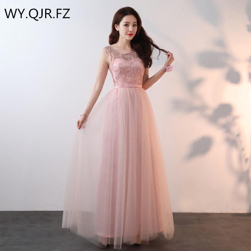 SJZL4455#V-neck Lace Up Pink Long Bridesmaid Dresses Wedding Party Prom Dress 2018 Spring Summer New Wholesale Fashion Clothing