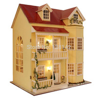 A010 Large Diy Wooden Dollhouse Villa Doll House Music And LED Lights Miniatures For Decoration Miniature