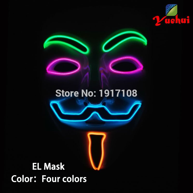 2017 New Hot Sale 4 Color Guy Flash Sound active EL Wire Glowing Mask Halloween LED Mask V for Vendetta Party Mask in Christmas