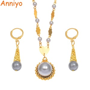 Image 2 - Anniyo Marshall Pearl Pendant Ball Beads Necklaces Jewelry Set Women Gold Color Guam Micronesia Jewelry Hawaii Gift #164606