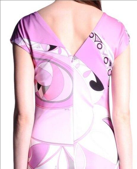 Delle Seta Size Corte Dress Astratta Maniche Stampa Jersey Rosa Plus Di Knee Donne Estate lunghezza Geometrica Modo Stretch 4qrg4UwB