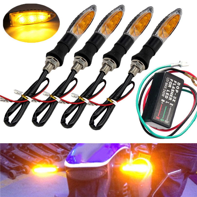 New 4PCS 3 LED Universal Motorcycle Turn Signal Indicator Light + Flasher Relay