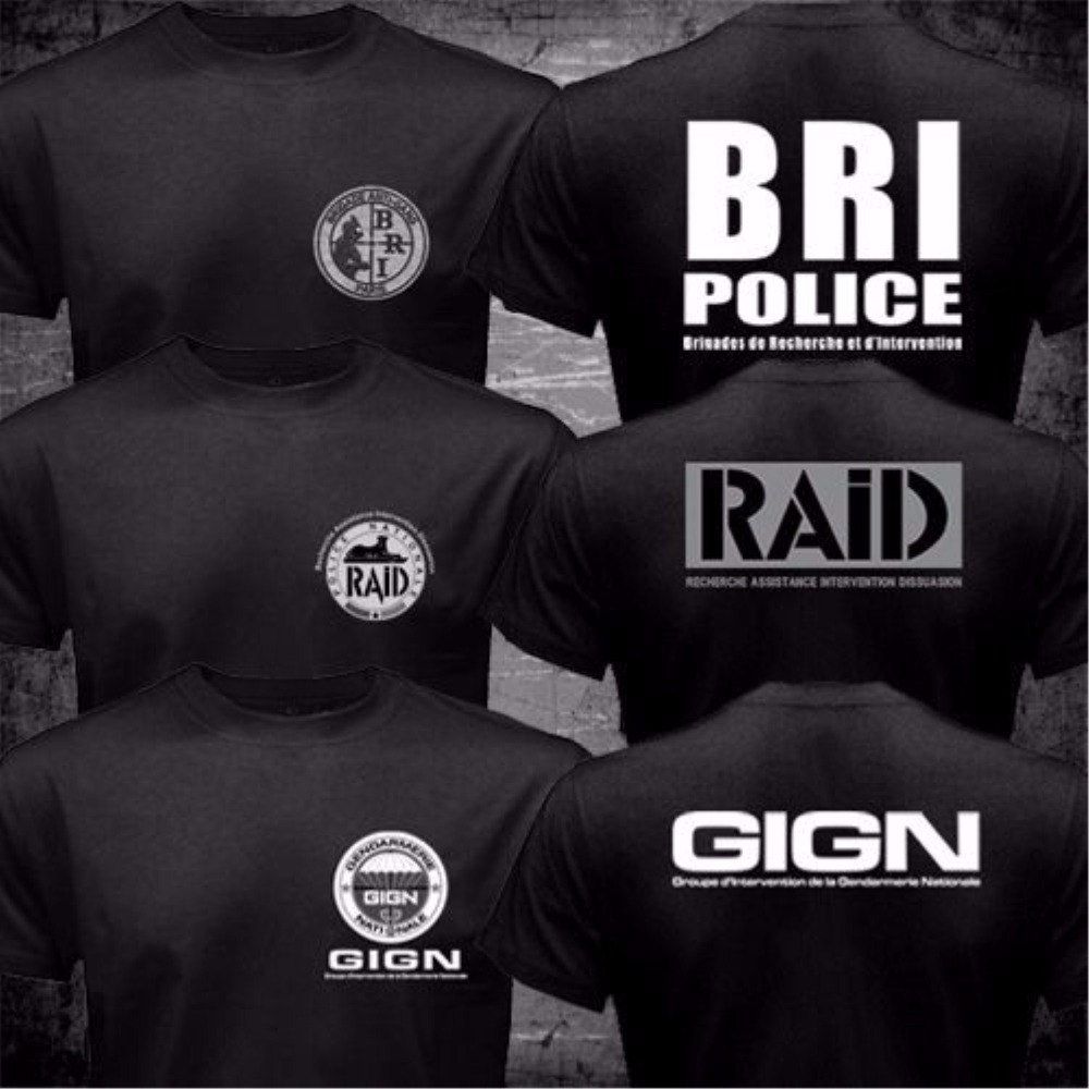 France French Special Elite Police Forces Unit GIGN Raid BRI Black T shirt Short Sleeve Mens Tshirt Funny 2 Side O Neck Shirts ...