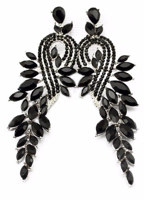 Idealway черные листья серьги Большой Стразы длинные серьги для женщин Висячие серьги с камнями черные модные украшения Bijoux