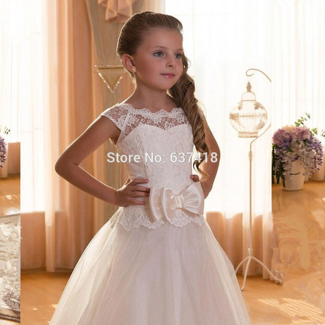 Ball Gown Cap Sleeve White Lace Holy Communion Dresses Girls Pageant ...