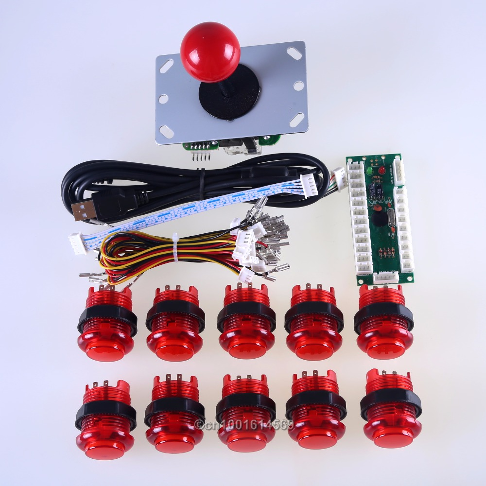 Joystick Arcade DIY Paquete Kits de Piezas USB Codificador Para LED y 10X LED Iluminado Botones Pulsadores MAME Multicade y Video Juegos DIY