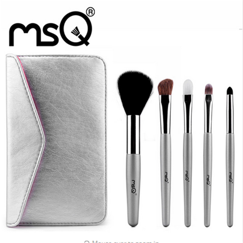 MSQ Professional 5 pcs Makeup Brushes Set For Women Fashion Soft Face Lip Eyebrow Shadow Make Up Brush Set Kit With Pouch Bag