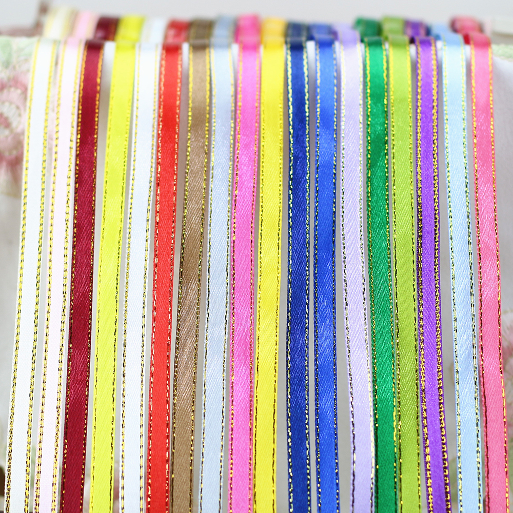 25Yards Satin Ribbon 6mm golden edge grosgrain Ribbons DIY for Gift Wrapping Wedding Party Decoration Scrapbooking Supplies in Ribbons from Home Garden