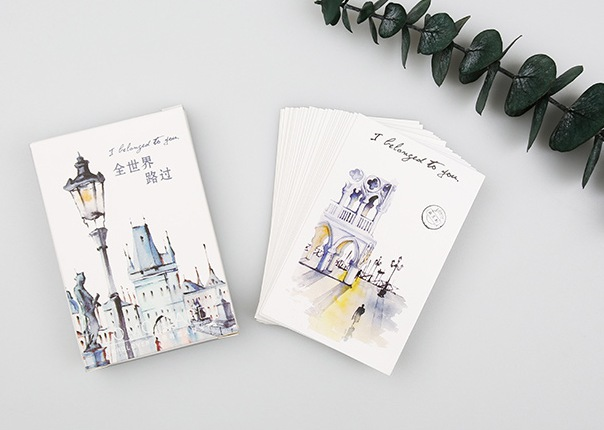 52mm*80mm Around World Paper Greeting Card Lomo Card(1pack=28pieces)