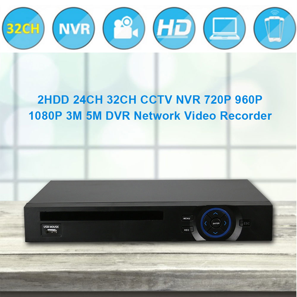 Hiseeu 2HDD 32CH CCTV NVR 720P 960P 1080P 5M DVR Network Video Recorder H.264 Onvif 2.0 for IP Camera 2 SATA XMEYE P2P Cloud 42 big promotion profession 2u full onvif video recorder nvr 32ch 1080p with hdmi p2p cloud for ip camera with 2tb hdd