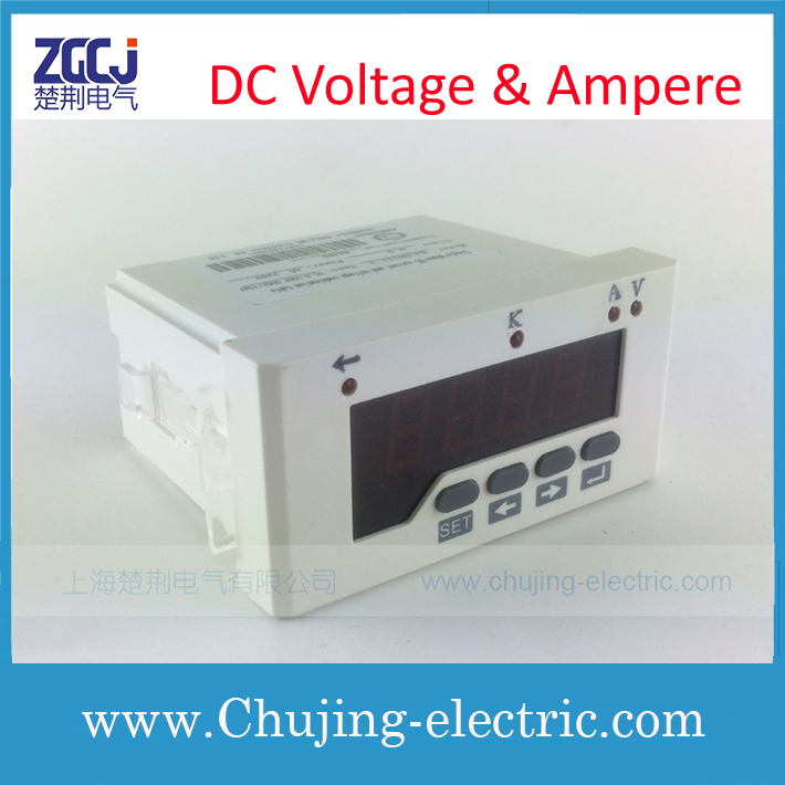 DC voltage and ampere meter 96*48mm 24V DC power supply volt & ampere instrument with1 relay output with current shunt