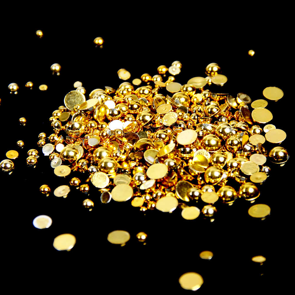2-5mm ומעורב גדלים זהב שרף חצי עגול קרפט ABS פניני פניני חרוזים לציפורניים אמנות עיצוב קישוט ציפורניים פנינים דקורטיביות