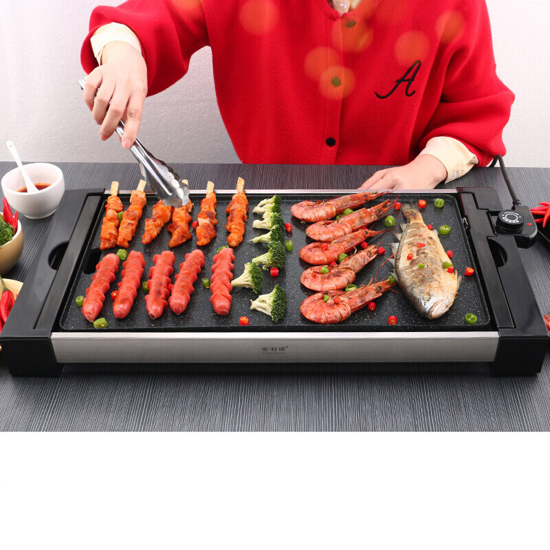 все цены на Electric Baking Tray Separated Household Smoke-free Iron Plate Barbecue BBQ Delicious Dish Grill & Griddle Cooking Machine