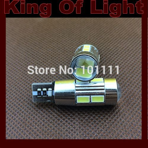 2x 10V-30V led Car styling lighting lens 194 W5W 10smd T10 wedge 10 led smd 5630 canbus obc error free no error Free shipping