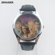 1 единица/lot Новые Лидер продаж мультфильм Дизайн Super Star группа кварцевые часы Для женщин Для мужчин пару студентов черные кожаные Наручные часы