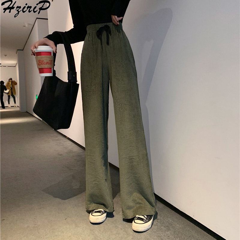 HziriP 2019 Autumn Winter Stylish Women Trousers Fashion Fashion Wild Solid Elastic High Waist Sashes Loose   Wide     Leg     Pants