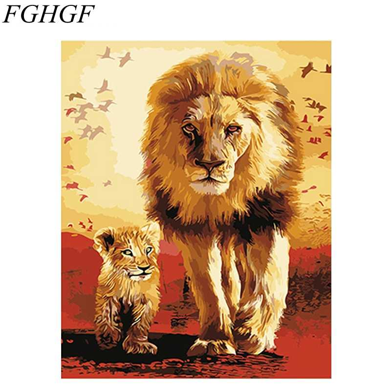 FGHGF Cat Frameless Pictures Painting By Numbers DIY Oil Painting By Numbers Lions On Canvas Europe Home Decoration