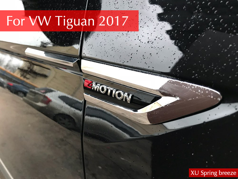 For VW Tiguan MK2 2016 2017 Car Side Wing Fender Emblem Badge With 4 Motion Sticker