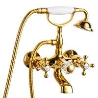 Vender Juegos de ducha de latón cromado oro y plata grifos de bañera montado en la pared