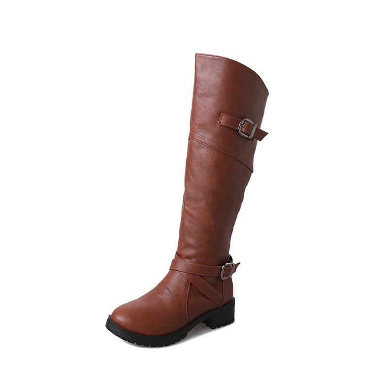 2018 autunno e in inverno piatto con stivali da parte delle nuove donne di modo della chiusura lampo selvaggio femminile testa rotonda stivali alti brwon 1031