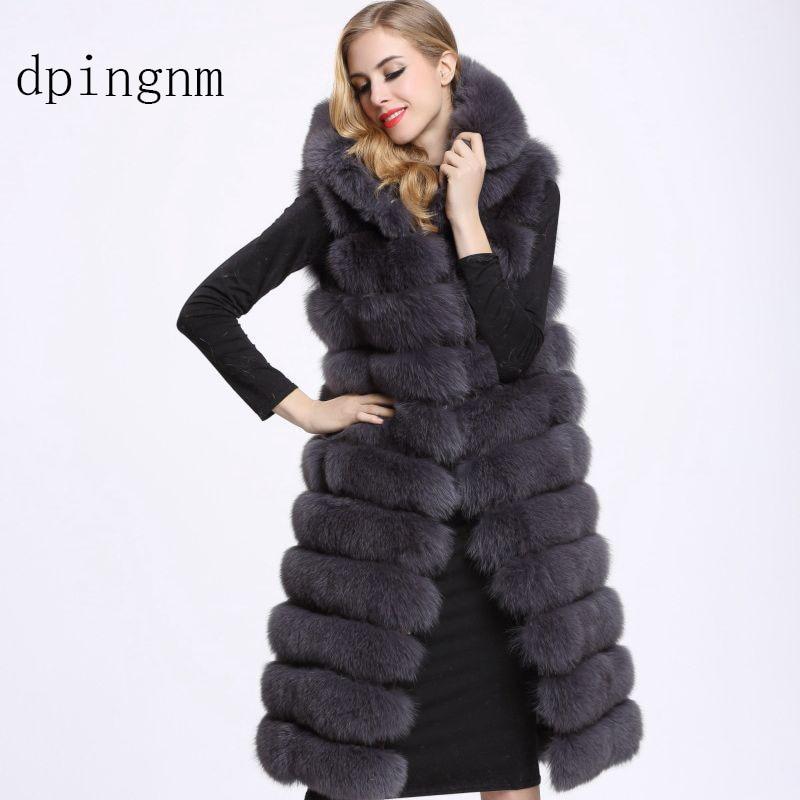 New 2018 Thicken Winter Warm Coat With Fur Hood Faux Mink Fox Fur Vest Jacket Feminino Long Oversized Ladies Waistcoats Wr741 Faux Fur Jackets & Coats