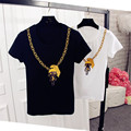 Korean New Arrivals Cartoon Printed Women T shirt Summer Brief Couple T-shirts Plus Size Short Sleeve O-neck T-shirt 63319