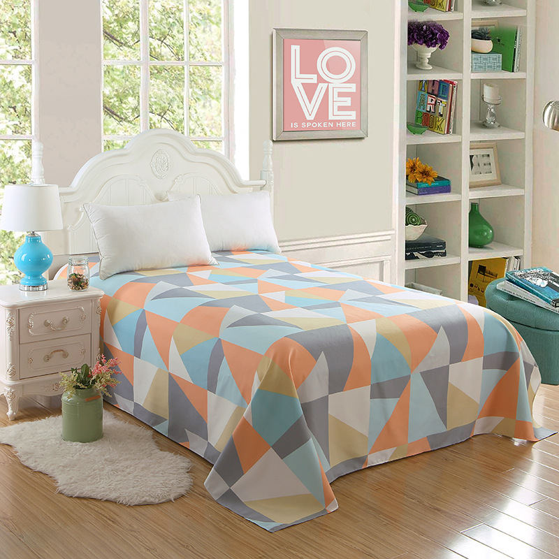 Hot Sale 1pc Luxury Geometrical Flower Printing Bedspread Bedsheet Bed Sheet Flat Sheet King Size for Wedding Home Decoration