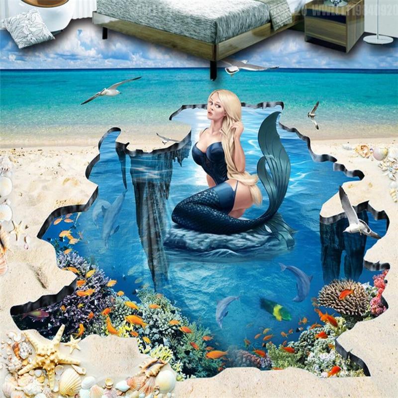 beibehang Beach Mermaid Underwater World 3D floor bathroom ...