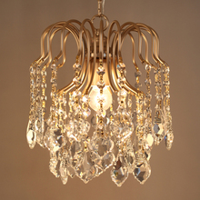 American country loft personality retro crystal iron chandelier dining room bedroom lamp