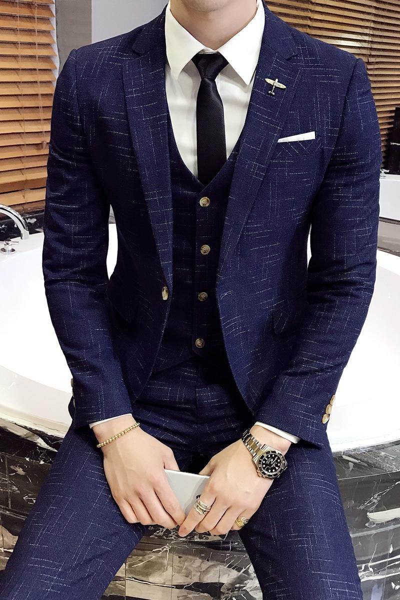 Custom Made Slim Fit Plaid Groom Tuxedos Blue Colour Side